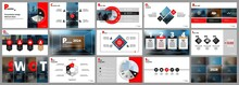 Abstract White, Red Slides. Brochure Cover Design. Fancy Info Banner Frame. Creative Set Of Infographic Elements. Urban. Title Sheet Model Set. Modern Vector. Presentation Templates, Corporate.