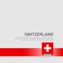 Switzerland Flag On A White Background. Vector Banner Design, Switzerland National Poster. Cover For Business Booklet. Ribbon With The Swiss Flag. State Patriotic, Flyer, Brochure