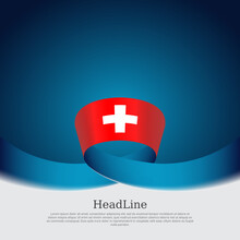 Switzerland Flag On A Blue White Background. Vector Banner Design, Switzerland National Poster. Cover For Business Booklet. Wavy Ribbon With The Swiss Flag. State Patriotic, Flyer, Brochure