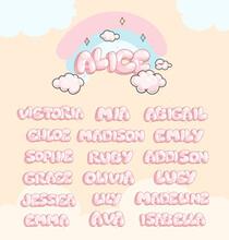 Cartoon Baby Girls Name Inscription. Vector Soft Color Illustration Elements For Kids Design