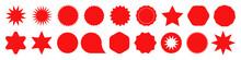 Star Burst Sticker Set . Flat Vector Design Elements Red Color. Vector Illustration Star Blank Label, Stickers Emblem On White Background For Promo Offer Sales Coupon, Banner. Vector Sticker EPS 10