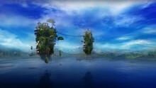 Fantastic Landscape With A Lake And Flying Islands, 3D Render.