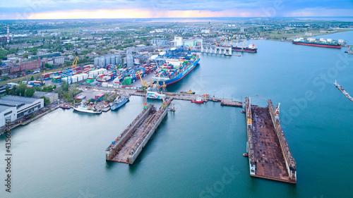 Fotografija Odessa, Ukraine - May 18, 2021: Empty dry docks in port Odessa.