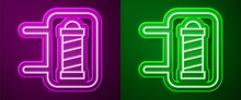 Glowing Neon Line Classic Barber Shop Pole Icon Isolated On Purple And Green Background. Barbershop Pole Symbol. Vector
