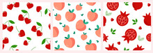 The Set Is A Seamless Pattern Of Red Pomegranate Fruits, Whole And Cut With Heart-shaped Stones And Green Leaves, Cherry Berries, Peach. Simple Abstract Minimalistic Shapes. Vector Graphics.