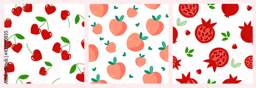 The set is a seamless pattern of red pomegranate fruits, whole and cut with heart-shaped stones and green leaves, cherry berries, peach Fototapeta