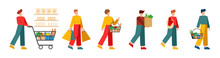 A Set Of 6 Unique Characters. People And Supermarket. People Walking With Shopping Cart In Supermarket Set. Shopping. Isolated Flat Vector Illustration On White Background.
