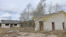 The View Of The Big Broken Brick House Abandoned On The Old Village