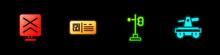Set Railroad Crossing, QR Code Ticket Train, Train Traffic Light And Draisine Or Handcar Icon. Vector