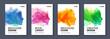 Watercolor booklet colourful cover bundle set with head profile silhouette