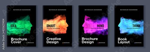Fotografiet Watercolor booklet colourful cover bundle set with head profile silhouette