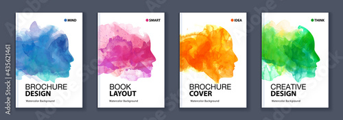 Photo Watercolor booklet colourful cover bundle set with head profile silhouette