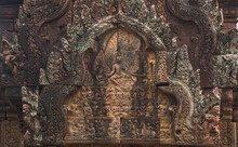The Pattern Carvings On The Arch Of The Banteay Srei, Another Of Cambodia's Most Beautiful Khmer Castles.