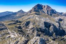 Aerial Of The Rocky Tramuntana Mountains, UNESCO World Heritage Site, Mallorca (Majorca), Balearic Islands