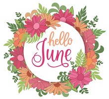 Handwritten, Hello June, Lettering Message. June Welcome Quote With Color Leaves . Modern Lettering. Hello June Design For Cards, Banners, Posters.