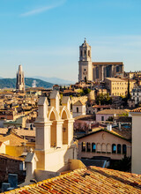 View Over The Old Town Towards The Cathedral Seen From The City Walls, Girona (Gerona), Catalonia