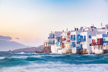 Little Venice In Mykonos, Mykonos Island, Cyclades, Aegean Sea, Greek Islands, Greece