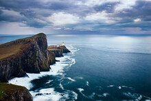 Long Exposure At Neist Point Lighthouse And Its Promontory, Isle Of Skye, Inner Hebrides, Scotland, United Kingdom