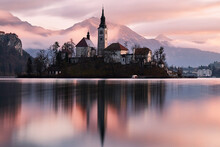 A Church In The Island In The Middle Of Bled Lake At Sunrise, Slovenia