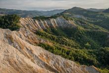 Badlands Amphitheater With Lush Hills, Emilia Romagna, Italy