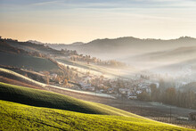 Sunrise Light In The Mist On Gentle Hills In The Countryside, Emilia Romagna, Italy