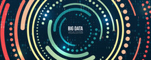 Wide Big Data Visualization. Information Analytics Concept. Abstract Stream Information With Circles Array And Binary Code. Filtering Machine Algorithms. Sorting Data. Vector Technology Background.