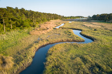 Winding Creek Through Chesapeake Bay Salt Water Marsh Near Hampton, Virginia
