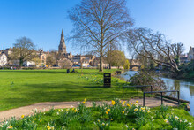 View Of Welland River And All Saints Church From The Town Meadows, Stamford, South Kesteven, Lincolnshire, England, United Kingdom