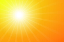 Abstract Vector Orange Background. Sunbeam Ullustration Banner And Poster. Hot Backdrop With Rays.