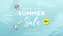 Creative Summer Sale Banner In Trendy Bright Colors With Tropical Leaves And Discount Text. Season Promotion Gradient Illustration.