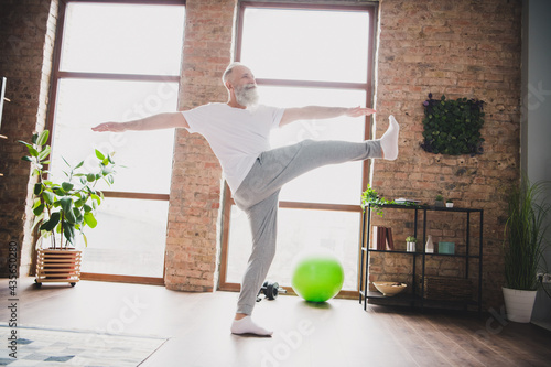 Wallpaper Mural Full size photo of mature handsome man grandfather exercising training at home h