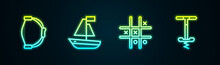 Set Line Bow Toy, Toy Boat, Tic Tac Toe Game And Pogo Stick Jumping. Glowing Neon Icon. Vector