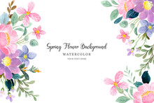 Spring Flower Background With Watercolor