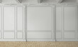 3D render of a classic interior wall decorated in white color with parquet. 3d illustration