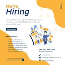 Social Media Square Banner For Post Feed. Job Vacancies Or Job Hiring Templates With Character Illustrations