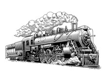Vintage Steam Train Locomotive, Engraving Style Vector Illustration
