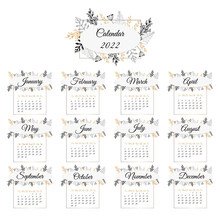 Calendar 2022. Delicate, Floral Ornament. The Months Are Framed. Design Template For Womens Diaries And Gift Wall Calendars. Vector Illustration