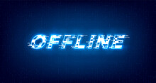 Glitch Offline Twitch Banner. Glowing Offline Title With Distortion Effect For Streaming Screen. Stream Gaming Background With Blue Glowing. Vector