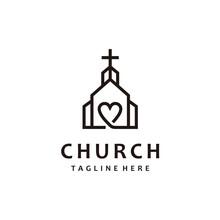 Christian Church Lovers Cross Gospel Line Art Logo Design Inspiration