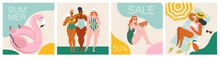 Vector Abstract Summer Time Illustration Card With Pin Up Women Chilling On The Beach. Summer Party. Hello Summer.