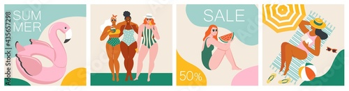 Slika na platnu Vector abstract summer time illustration card with pin up women chilling on the beach