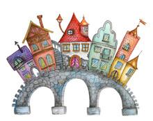 Hand Drawn Watercolor Illustration With Stone Bridge.