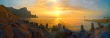 Tranquil Sunrise At Crimea Beach In Ukraine, Black Sea