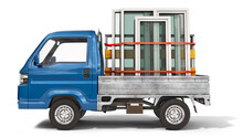 Front View On PVC Windows In Open Tailgate Of A Truck, Windows Delivery, Windows Production Concept, 3d Illustration