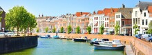 Middelburg City Centre. Panoramic Aerial View. The Netherlands. Yachts And Boats Anchored In Canal. Traditional Architecture. Travel Destinations, Landmarks, Sightseeing, Vacations, Sailing
