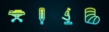 Set Line Stretcher, Medical Thermometer, Microscope And Gypsum. Glowing Neon Icon. Vector