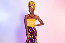 Photo Of Charming Happy Dark Skin Woman Hold Hand Waist Wear Tribal Outfit Isolated On Gradient Effect Background