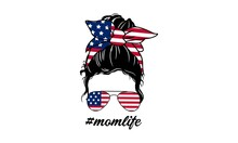 4th Of July Messy Bun, United States Of America (USA) Flag Messy Bun - US Independence Day Vector And Clip Art