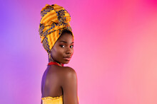 Photo Of Charming Stunning Dark Skin Woman Wear Traditional Clothes Serious Face Isolated On Vivid Gradient Background