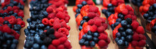 Mix Berries Includes Raspberries, Strawberry Blackberries And Blueberries In The Street Market. Various Colorful Berries. Fresh Bio Fruits, Healthy Eating, Diet, Dieting Concept, Organic Food.